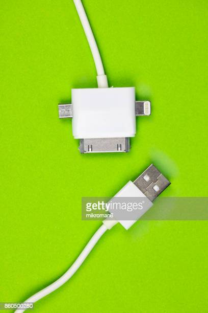 USB charger cable connectors set. USB and micro USB cable