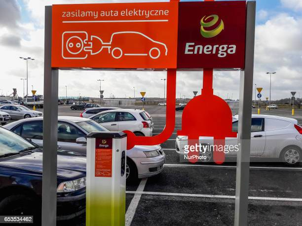 Charging station for electric cars at the Auchan mall parking is seen on 15 March 2017 in Gdansk Poland Polish energy company Energa creates a...