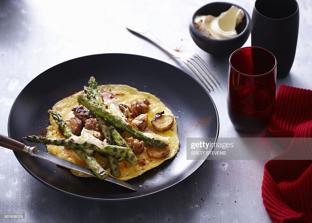 Chargrilled asparagus omelette served on a plate