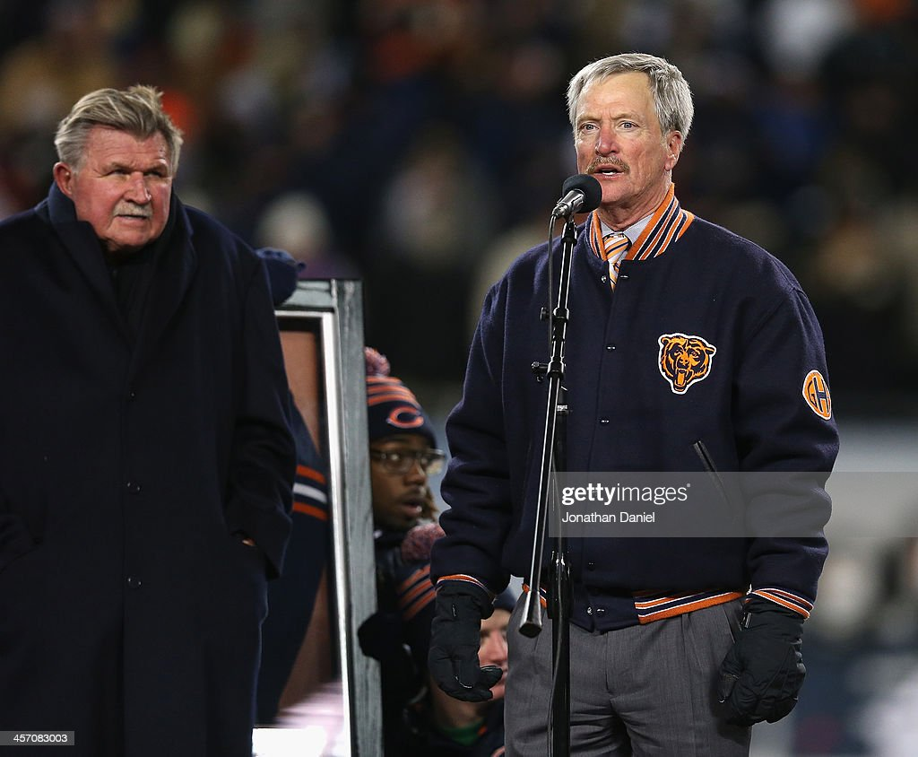 Chariman George McCaskey of the Chicago Bears speaks during a number retirement ceremony for Mike Ditka during half-time of a game against the Dallas Cowboys at Soldier Field on December 9, 2013 in Chicago, Illinois. The Bears defeated the Cowboys 45-28.