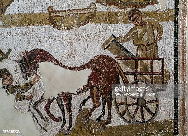 Chariot carrying a column detail from a Roman mosaic Tunisia Roman civilisation Tunis Musée National Du Bardo