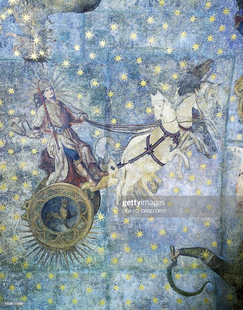 Chariot of Jupiter 16th century detail from the Zodiac frescoes in the dome of the old library University of Salamanca Spain