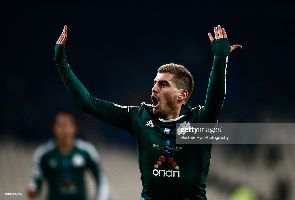 Charis Mavrias of Panathinaikos celebrates after scoring his team's first goal during the Superleague match between Panathinaikos FC and Olympiacos Piraeus at OAKA Stadium on December 9, 2012 in Athens, Greece.