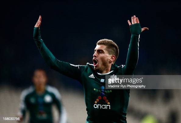 Charis Mavrias of Panathinaikos celebrates after scoring his team's first goal during the Superleague match between Panathinaikos FC and Olympiacos...
