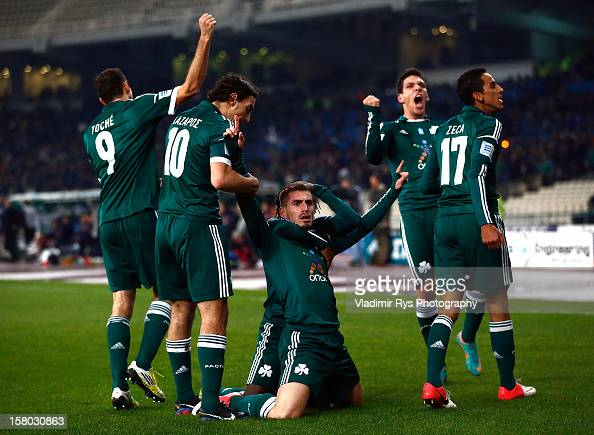 Charis Mavrias of Panathinaikos is celebrated by his team mates after scoring his team's first goal during the Superleague match between...