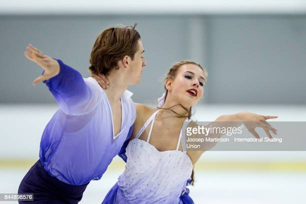 Charise Matthaei and Maximilian Pfisterer of Germany compete in the Junior Ice Dance Free Dance during day 3 of the Riga Cup ISU Junior Grand Prix of...