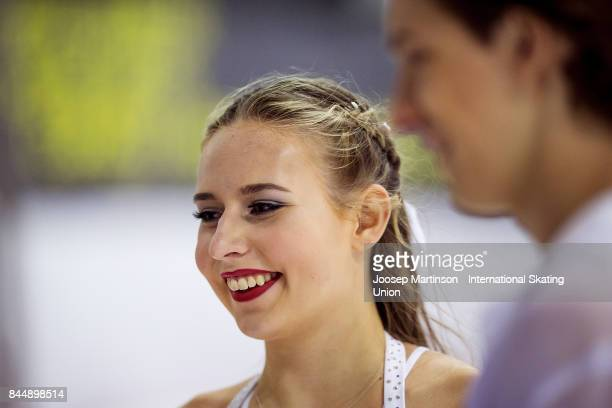 Charise Matthaei and Maximilian Pfisterer of Germany look on in the Junior Ice Dance Free Dance during day 3 of the Riga Cup ISU Junior Grand Prix of...
