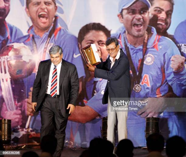 Charismatic former India allrounder Salim Durrani who was honoured with the Col CK Nayudu Lifetime Achievement Award recieves the awards from BCCI...