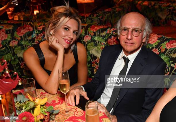 Charissa Thompson and Larry David attend the HBO's Official 2017 Emmy After Party at The Plaza at the Pacific Design Center on September 17 2017 in...