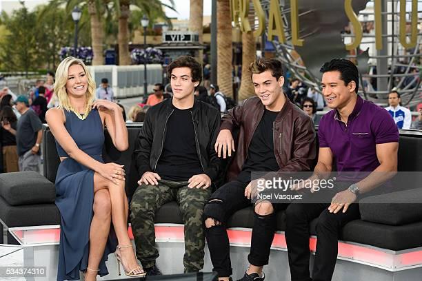 Charissa Thompson Ethan Dolan Grayson Dolan and Mario Lopez visit 'Extra' at Universal Studios Hollywood on May 25 2016 in Universal City California