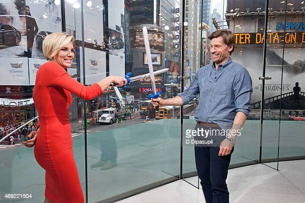 Charissa Thompson interviews Nikolaj CosterWaldau during his visit to 'Extra' at their New York Studios at HM in Times Square on April 10 2015 in New...