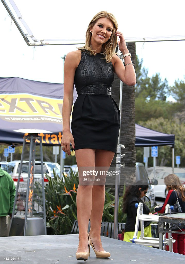 Charissa Thompson is seen on the set of Extra on April 2, 2014 in Los Angeles, California.