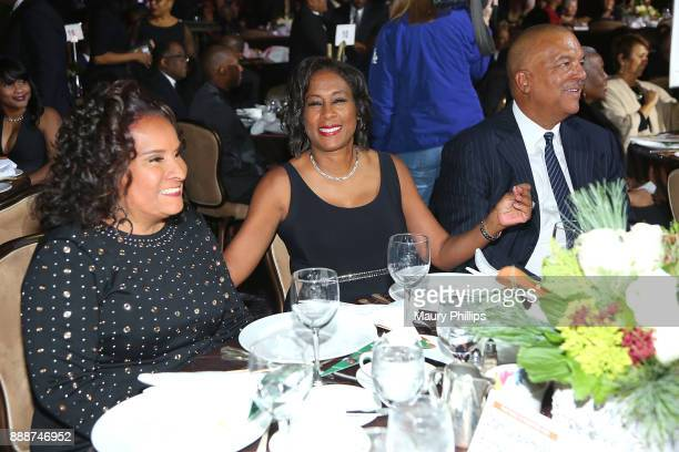 Charisse BeamondWeaver Pat Harvey and Ken Lombard attend the 49th Annual Pioneer of African American Achievement Award dinner at The Beverly Hilton...
