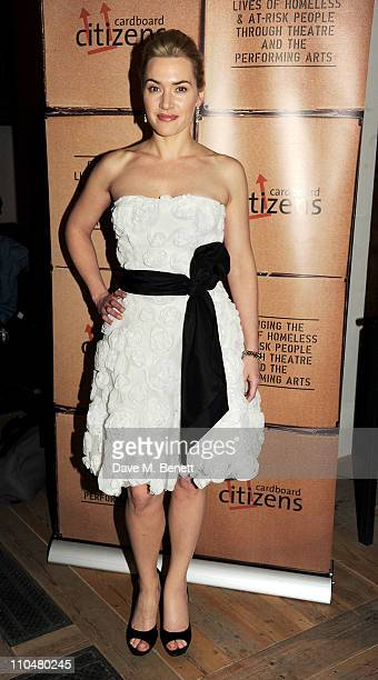 Charity ambassador and host Kate Winslet arrives at the Cardboard Citizens Gala Fundraising Dinner wearing a dress by French couture house Max Chaoul...