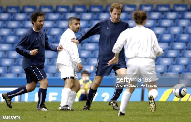 Charity football players David Baddeil Sadiq Khan MP Alistair Campbell and Kate Mollinari take part in a charity football match for the Cystic...