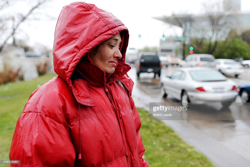 Charity Martinez sheds tears while talking about her life while being homeless on the streets of Denver Thursday April 16 2015 at Colfax Avenue and...