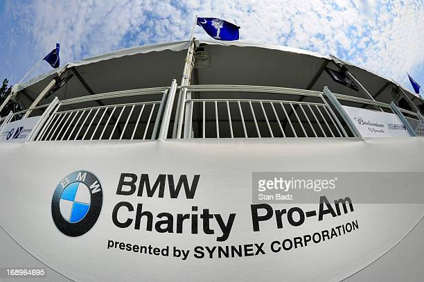 Charity ProAm logo is displayed on the 18th hole during the second round of the BMW Charity ProAm Presented by SYNNEX Corporation at the Thornblade...