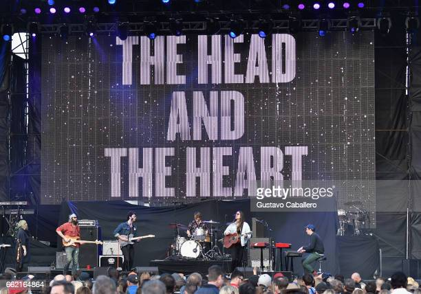 Charity Rose Chris Zasche Jonthan Russell Tyler Williams Josiah Johnson and Kenny Hensley of the band The Head and the Heart perform at the ATT Block...