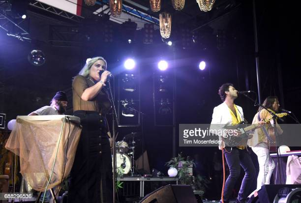 Charity Rose Thielen and Jonathan Russell of The Head and the Heart perform during the 2017 Hangout Music Festival on May 20 2017 in Gulf Shores...