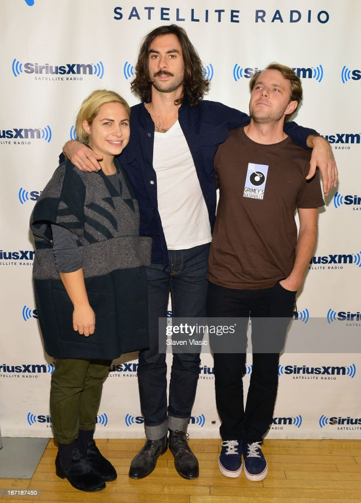 Charity Rose Thielen, Jonathan Russell and Josiah Johnson of 'The Head and the Heart' visit SiriusXM Studios on November 6, 2013 in New York City.