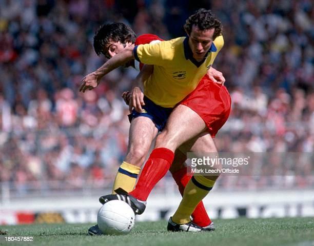 Charity Shield 1979Liverpool v ArsenalLiam Brady somes under pressure from David Johnson