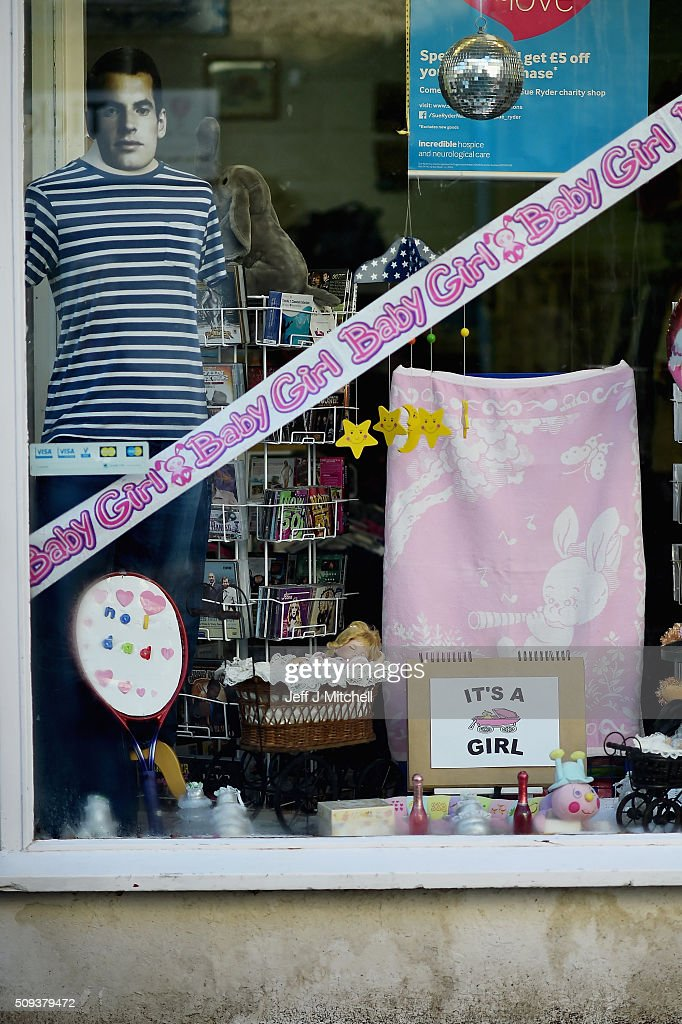 A charity shop decorates it window in Andy Murray's hometown of Dunblane where things have been turned pink to celebrate him becoming a dad yesterday for the first time on February 10, 2016 in Dunblane,Scotland. The tennis star's wife, Kim Sears, gave birth to a girl on Sunday morning.