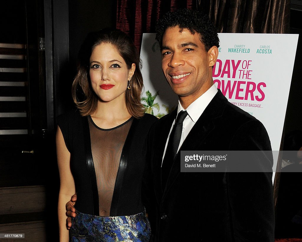 Charity Wakefield (L) and Carlos Acosta attend an after party celebrating the UK Premiere of 'Day Of The Flowers' at The Mayfair Hotel on November 24, 2013 in London, England.