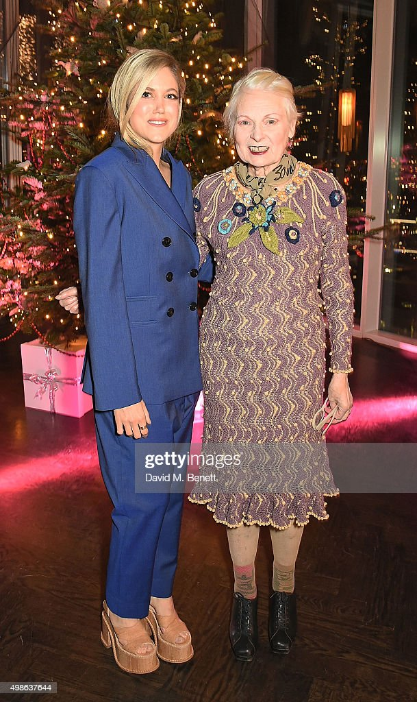 Charity Wakefield and Vivienne Westwood attend Vivienne Westwood Christmas tree unveiling at aqua shard on November 24, 2015 in London, England.