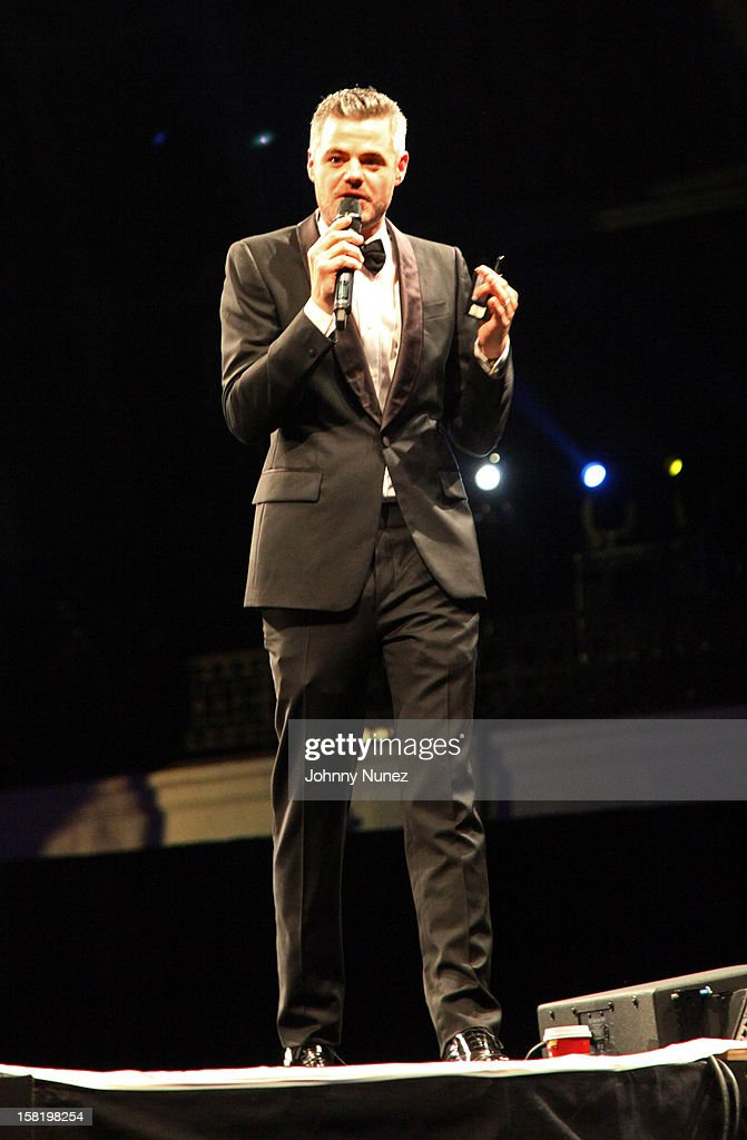 Water founder Scott Harrison speaks at the 7th Annual Charity Ball at the 69th Regiment Armory on December 10, 2012 in New York City.