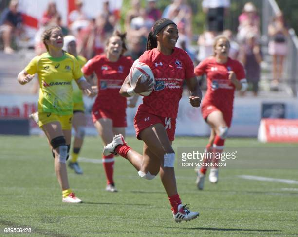 Charity Williams scores for Canada against Australia on day two of HSBC Canada Women's Sevens Rugby action at Westhills Stadium in Langford Canada...