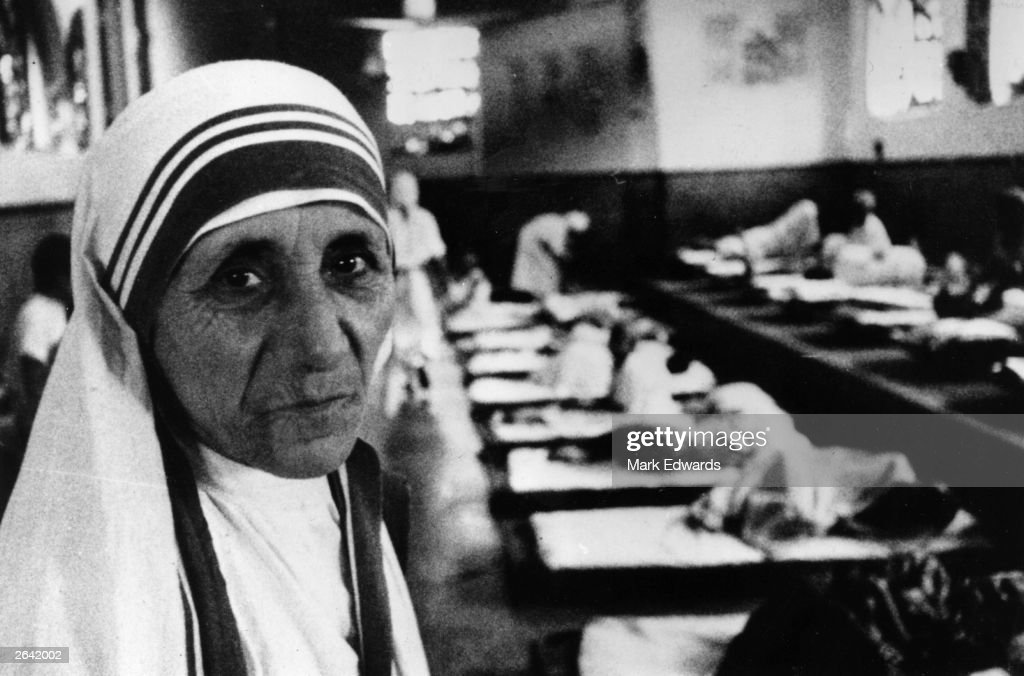Charity worker <a gi-track='captionPersonalityLinkClicked' href=/galleries/search?phrase=Mother+Teresa&family=editorial&specificpeople=91602 ng-click='$event.stopPropagation()'>Mother Teresa</a> (1910 - 1997), seen in her hospital around the time she was awarded the Templeton Prize for Progress.