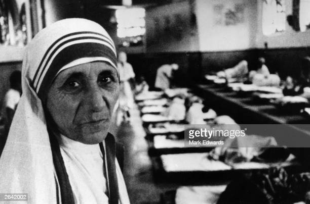 Charity worker Mother Teresa seen in her hospital around the time she was awarded the Templeton Prize for Progress