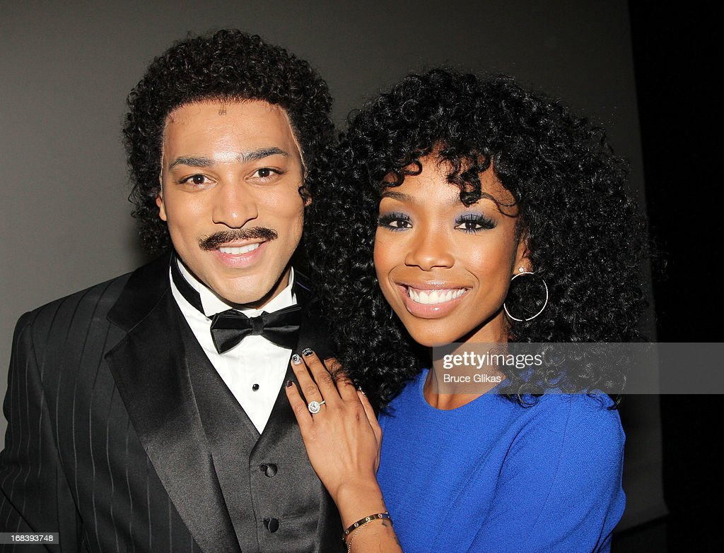 Charl Brown as 'Smokey Robinson' and <a gi-track='captionPersonalityLinkClicked' href=/galleries/search?phrase=Brandy+Norwood&family=editorial&specificpeople=202122 ng-click='$event.stopPropagation()'>Brandy Norwood</a> pose backstage at the Tony Nominated hit musical 'Motown:The Musical' on Broadway at The Lunt-Fontanne Theater on May 8, 2013 in New York City.