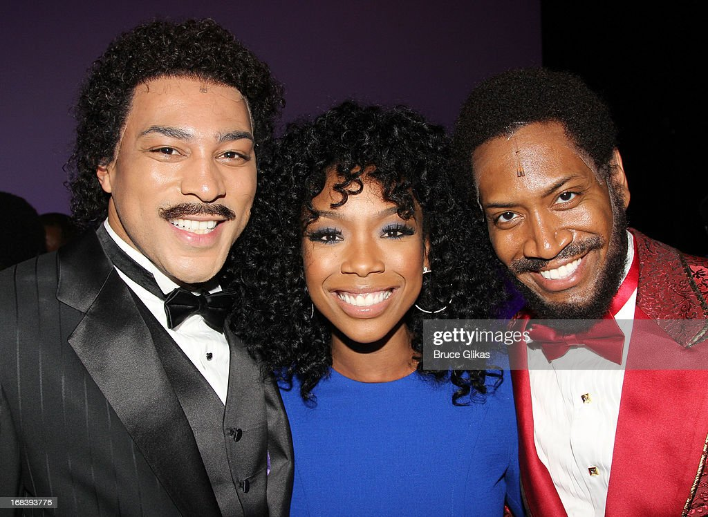 Charl Brown as 'Smokey Robinson', <a gi-track='captionPersonalityLinkClicked' href=/galleries/search?phrase=Brandy+Norwood&family=editorial&specificpeople=202122 ng-click='$event.stopPropagation()'>Brandy Norwood</a> and Bryan Terrell Clark as 'Marvin Gaye' pose backstage at the Tony Nominated hit musical 'Motown:The Musical' on Broadway at The Lunt-Fontanne Theater on May 8, 2013 in New York City.