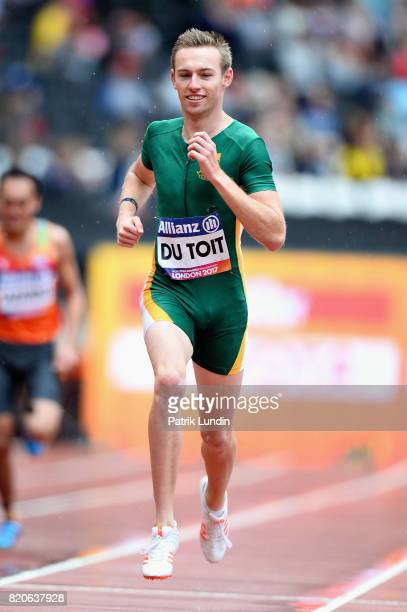 Charl Du Toit of South Africa competes in round one heat two of the Mens 400m T37 during day nine of the IPC World ParaAthletics Championships 2017...
