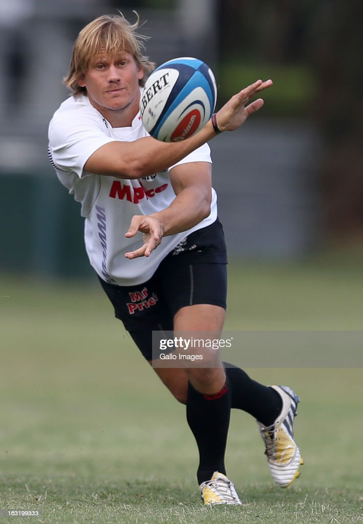 Charl Mcleod during The Sharks training session from Kings Park on March 06, 2013 in Durban, South Africa.