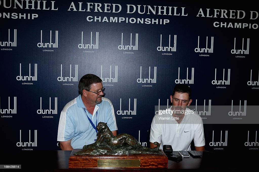 Charl Schwartzel of South Africa addresses the media after winning the Alfred Dunhill Championship on a score of -24 at Leopard Creek Country Golf Club on December 16, 2012 in Malelane, South Africa.