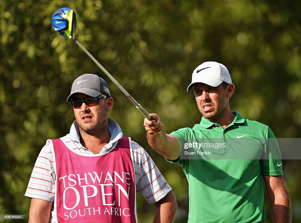<a gi-track='captionPersonalityLinkClicked' href=/galleries/search?phrase=Charl+Schwartzel&family=editorial&specificpeople=213793 ng-click='$event.stopPropagation()'>Charl Schwartzel</a> of South Africa and caddie discuss a shot during the second round of the Tshwane Open at Pretoria Country Club on February 12, 2016 in Pretoria, South Africa.