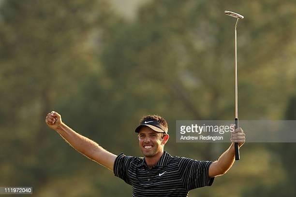Charl Schwartzel of South Africa celebrates his twostroke victory at the 2011 Masters Tournament at Augusta National Golf Club on April 10 2011 in...