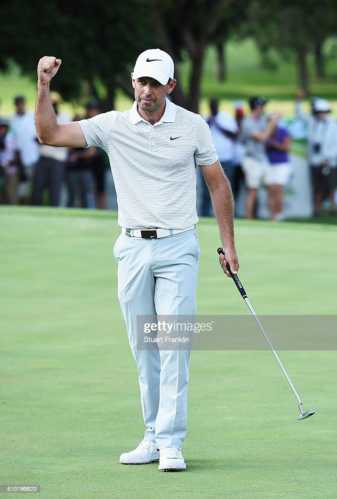 Charl Schwartzel of South Africa celebrates winning on the 18th hole during the final round of the Tshwane Open at Pretoria Country Club on February 14, 2016 in Pretoria, South Africa.