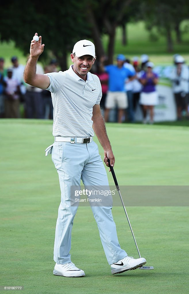 <a gi-track='captionPersonalityLinkClicked' href=/galleries/search?phrase=Charl+Schwartzel&family=editorial&specificpeople=213793 ng-click='$event.stopPropagation()'>Charl Schwartzel</a> of South Africa celenbrates winning on the 18th hole during the final round of the Tshwane Open at Pretoria Country Club on February 14, 2016 in Pretoria, South Africa.