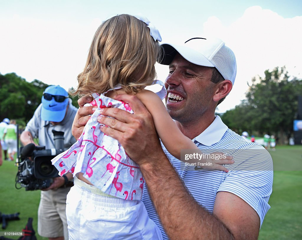 <a gi-track='captionPersonalityLinkClicked' href=/galleries/search?phrase=Charl+Schwartzel&family=editorial&specificpeople=213793 ng-click='$event.stopPropagation()'>Charl Schwartzel</a> of South Africa celenbrates winning on the 18th hole with his daughter <a gi-track='captionPersonalityLinkClicked' href=/galleries/search?phrase=Charl+Schwartzel&family=editorial&specificpeople=213793 ng-click='$event.stopPropagation()'>Charl Schwartzel</a> during the final round of the Tshwane Open at Pretoria Country Club on February 14, 2016 in Pretoria, South Africa.