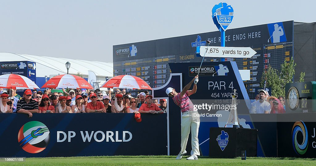 Charl Schwartzel of South Africa drives from the first tee during the final round of the 2012 DP World Tour Championship on the Earth Course at Jumeirah Golf Estates on November 25, 2012 in Dubai, United Arab Emirates.