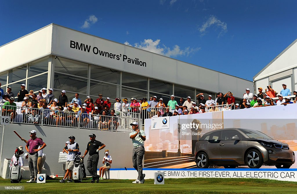 Charl Schwartzel of South Africa hits a shot on the 17th hole during the first round of the BMW Championship at Conway Farms Golf Club on September 12, 2013 in Lake Forest, Illinois.
