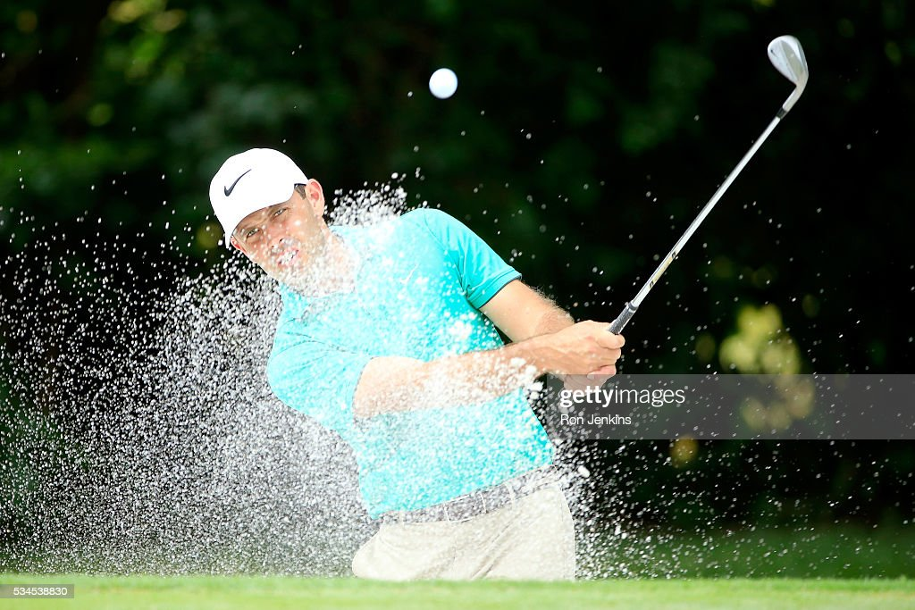 Charl Schwartzel of South Africa hits a shot out of the bunker on the eighth hole during the First Round of the DEAN & DELUCA Invitational at Colonial Country Club on May 26, 2016 in Fort Worth, Texas.