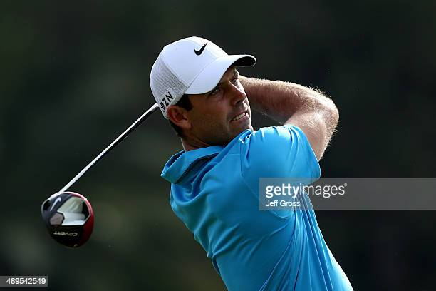 Charl Schwartzel of South Africa hits a tee shot on the 2nd hole in the third round of the Northern Trust Open at the Riviera Country Club on...