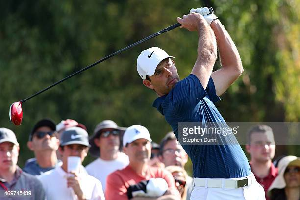 Charl Schwartzel of South Africa hits a tee shot on the 2nd hole in the final round of the Northern Trust Open at the Riviera Country Club on...