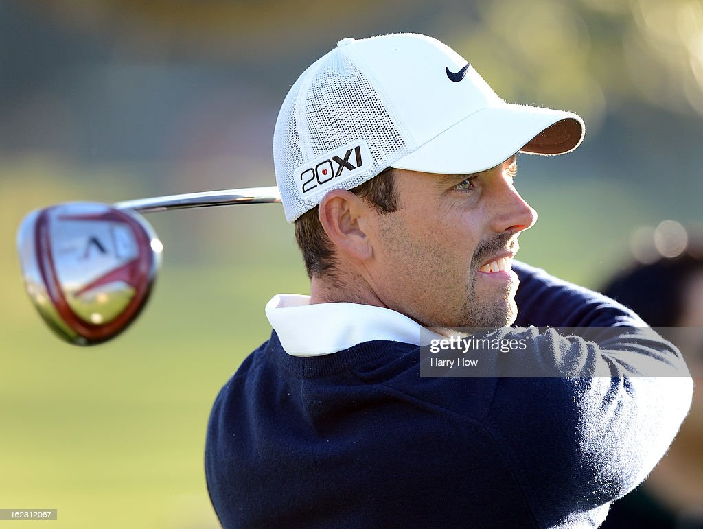 Charl Schwartzel of South Africa hits a tee shot on the third tee during the second round of the Northern Trust Open at the Riviera Country Club on February 15, 2013 in Pacific Palisades, California.