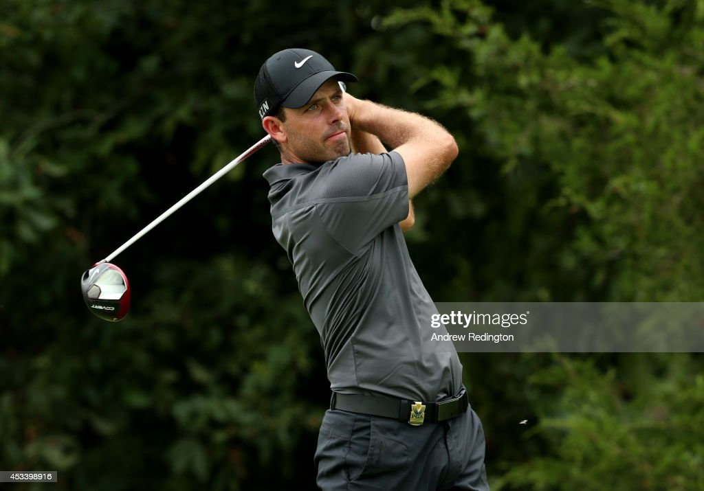 Charl Schwartzel of South Africa hits his tee shot on the 18th hole during the third round of the 96th PGA Championship at Valhalla Golf Club on August 9, 2014 in Louisville, Kentucky.