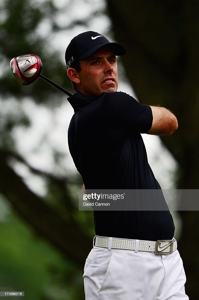 Charl Schwartzel of South Africa hits his tee shot on the fifth hole during the final round of the 113th U.S. Open at Merion Golf Club on June 16, 2013 in Ardmore, Pennsylvania.